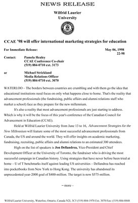 22-1998 : CCAE '98 will offer international marketing strategies for education