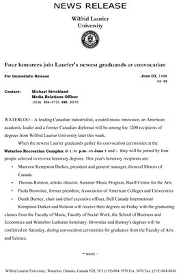 26-1998 : Four honorees join Laurier's newest graduands at convocation