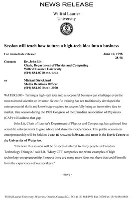 28-1998 : Session will teach how to turn a high-tech idea into a business