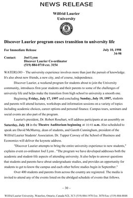 34-1998 : Discover Laurier program eases transition to university life
