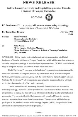 35-1998 : PC Servicentre @ Laurier will increase access to key technology