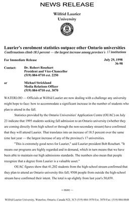 36-1998 : Laurier's enrolment statistics outpace other Ontario universities