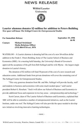 46-1998 : Laurier alumnus donates $2-million for addition to Peters Building