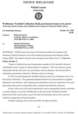 48-1998 : Woldemar Neufeld Collection finds permanent home at Laurier