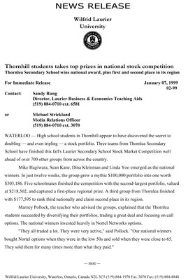 02-1999 : Thornhill students takes top prizes in national stock market competition
