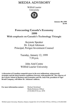 03-1999 : Forecasting Canada's Economy 1999 with emphasis on Canada's Technology Triangle
