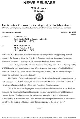 04-1999 : Laurier offers first concert featuring antique Streicher piano