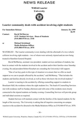 06-1999 : Laurier community deals with accident involving eight students