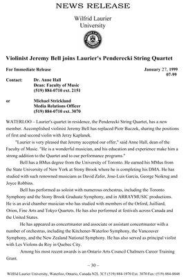 07-1999 : Violinist Jeremy Bell joins Laurier's Penderecki String Quartet