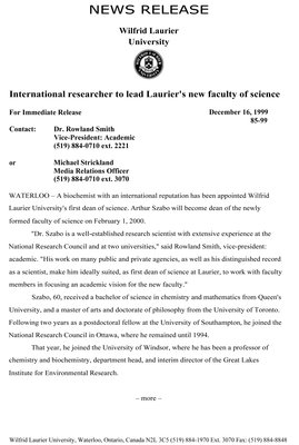 85-1999 : International researcher to lead Laurier's new faculty of science