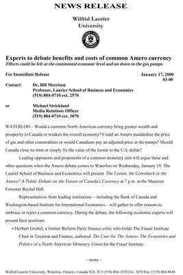 03-2000 : Experts to debate benefits and costs of common Amero currency