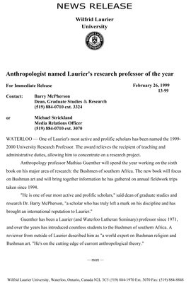 13-1999 : Anthropologist named Laurier's research professor of the year