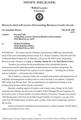14-1999 : Maxtech chief will receive Outstanding Business Leader Award