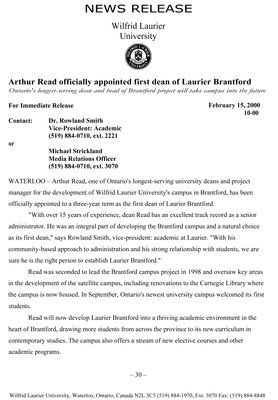 10-2000 : Arthur Read officially appointed first dean of Laurier Brantford