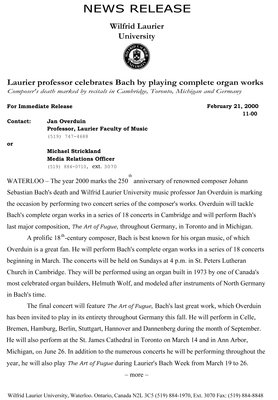 11-2000 : Laurier professor celebrates Bach by playing complete organ works