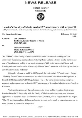 12-2000 : Laurier's Faculty of Music marks 25th anniversary with organ CD