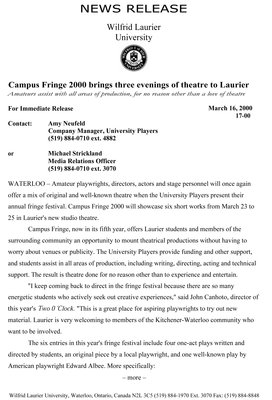 17-2000 : Campus Fringe 2000 brings three evenings of theatre to Laurier