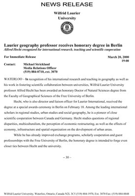 19-2000 : Laurier geography professor receives honorary degree in Berlin