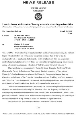 22-2000 : Laurier looks at the role of faculty values in assessing universities