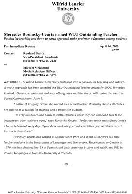25-2000 : Mercedes Rowinsky-Geurts named WLU Outstanding Teacher