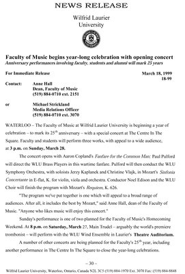 18-1999 : Faculty of Music begins year-long celebration with opening concert