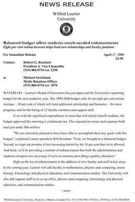 24-1999 : Balanced budget offers students much-needed enhancements