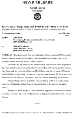 27-1999 : Laurier course brings more than $7000 in aid to third world Cuba