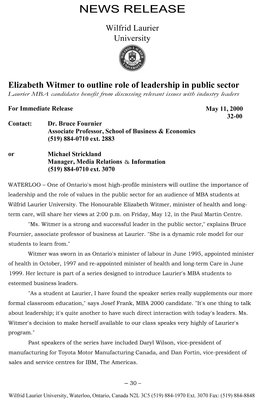 32-2000 : Elizabeth Witmer to outline role of leadership in public sector