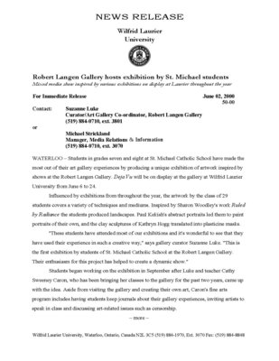 50-2000 : Robert Langen Gallery hosts exhibition by St. Michael students