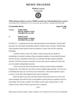 70-2000 : Tillsonburg student receives $3000 Lansdowne Scholarship at Laurier