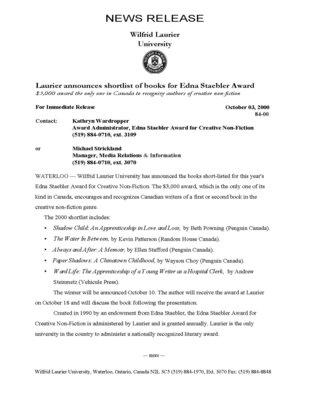 84-2000 : Laurier announces shortlist of books for Edna Staebler Award
