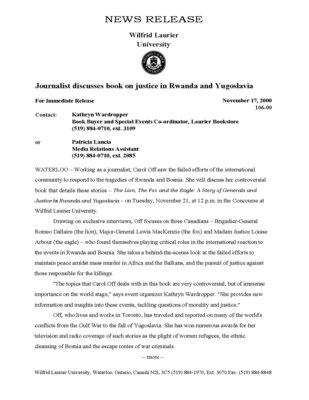 106-2000 : Journalist discusses book on justice in Rwanda and Yugoslavia
