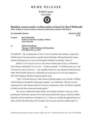27-2001 : Hamilton concert marks world premiere of music by Boyd McDonald