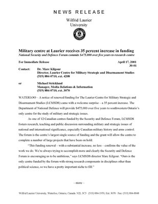 30-2001 : Military centre at Laurier receives a 35 percent increase in funding