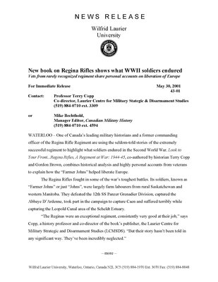 43-2001 : New book on Regina Rifles shows what WWII soldiers endured