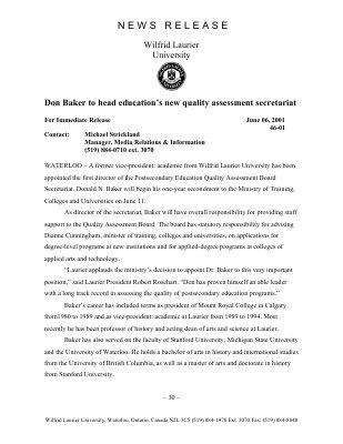 46-2001 : Don Baker to head education's new quality assessment secretariat