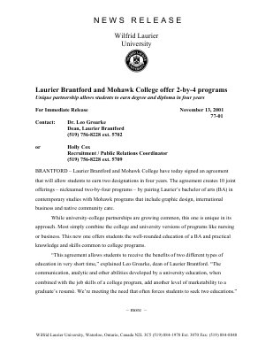 77-2001 : Laurier Brantford and Mohawk College offer 2-by-4 programs