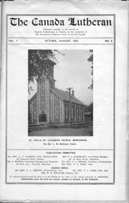 The Canada Lutheran, vol. 1, no. 2, August 1912