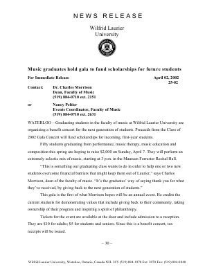 25-2002 : Music graduates hold gala to fund scholarships for future students