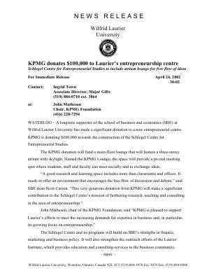 30-2002 :  KPMG donates $100,000 to Laurier's entrepreneurship centre