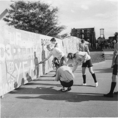 Construction hoarding on Waterloo Lutheran University campus
