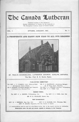 The Canada Lutheran, vol. 1, no. 7, January 1913