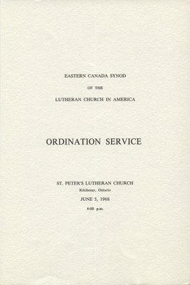 Eastern Canada Synod of the Lutheran Church in America Ordination Service program, 1968
