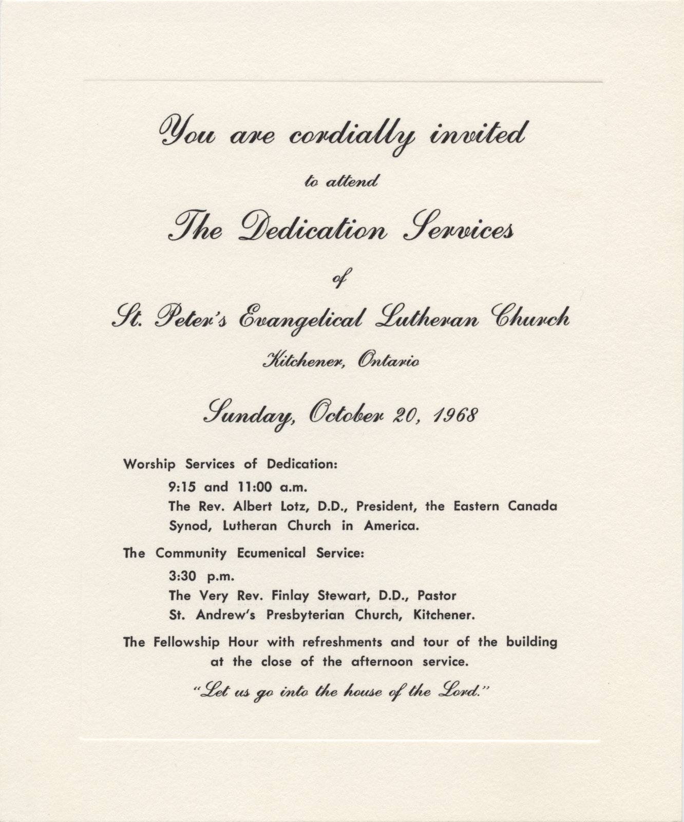 Invitation to the dedication services of St. Peter's Evangelical Lutheran Church, October 1968