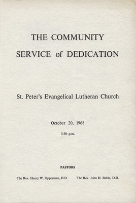 The community service of dedication of St. Peter's Evangelical Lutheran Church, October 1968