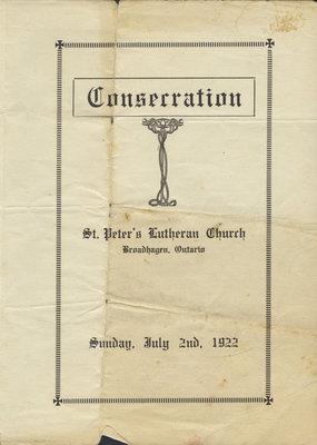 Consecration : St. Peter's Lutheran Church, Broadhagen, Ontario, July 1922