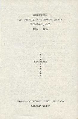 Centennial service for St. Peter's Lutheran Church program, September 1958