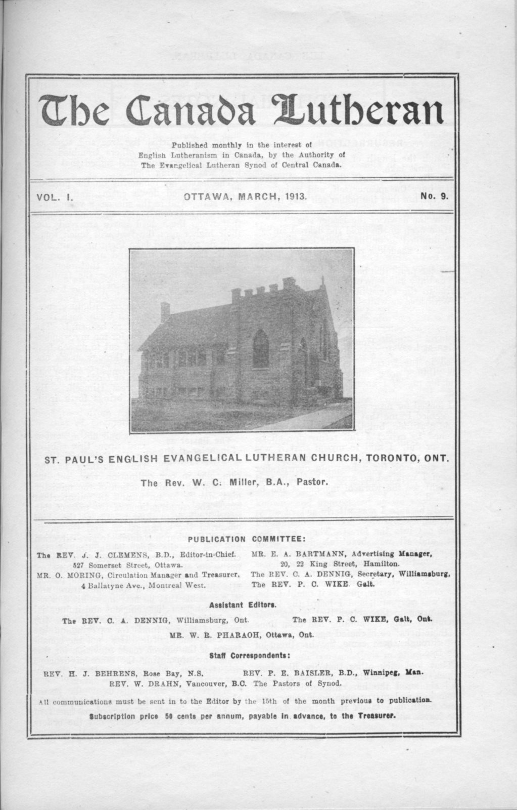 The Canada Lutheran, vol. 1, no. 9, March 1913