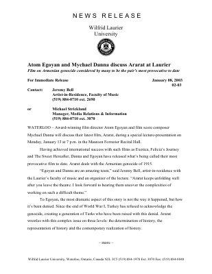 02-2003 : Atom Egoyan and Mychael Danna discuss Ararat at Laurier