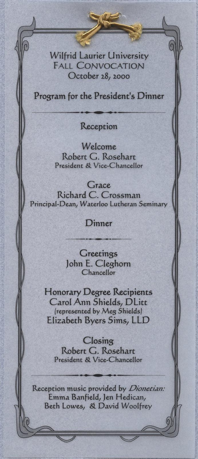 Wilfrid Laurier University 2000 fall convocation President's Dinner program